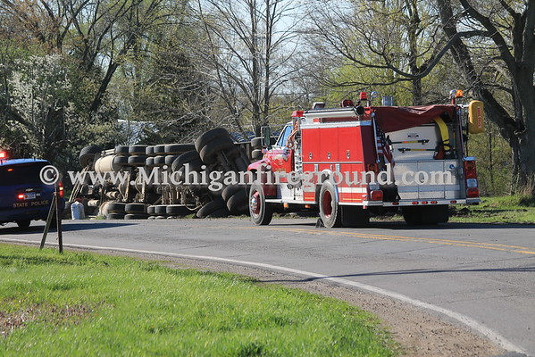 4/27/16 - Dansville semi truck rollover, Dexter Tr & Parman Rd