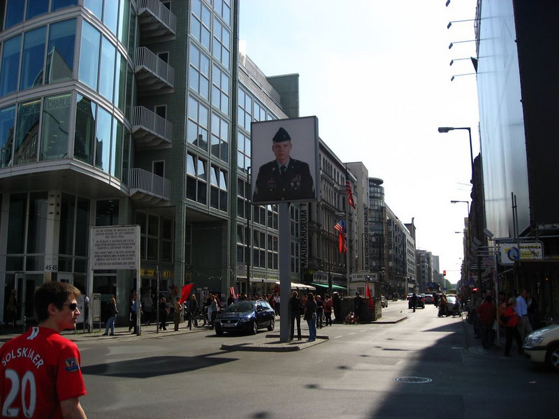 Checkpoint Charlie, a former broder crossing point between East and West Germany