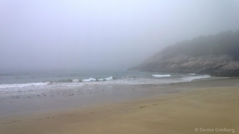 fog & ocean waves, Sand Beach, Acadia National Park