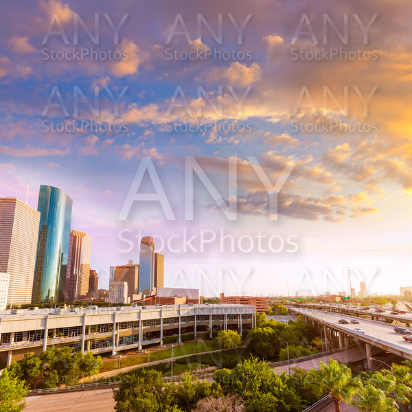 Houston Skyline North view sunset in Texas US