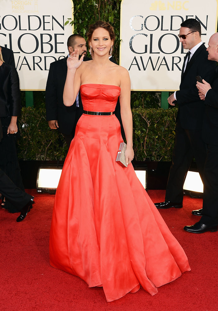 Description of . Actress Jennifer Lawrence arrives at the 70th Annual Golden Globe Awards held at The Beverly Hilton Hotel on January 13, 2013 in Beverly Hills, California.  (Photo by Jason Merritt/Getty Images)