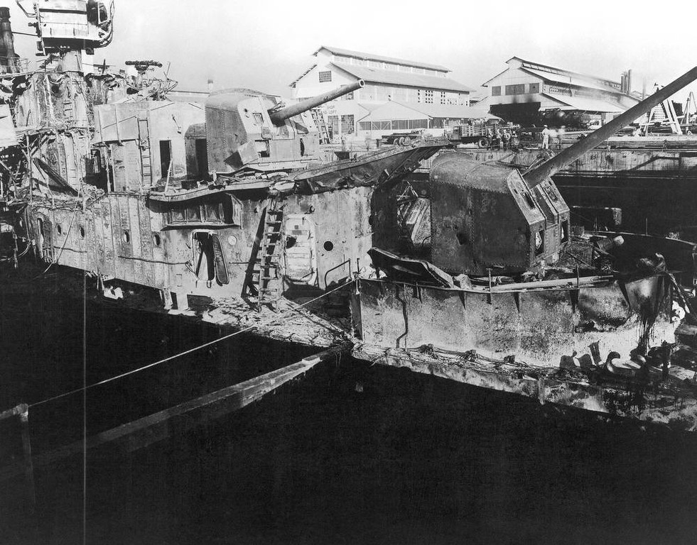 . In this image provided by the U.S. Naval Historical Center, USS Downes (DD-375) in dry dock No. 1, Pearl Harbor Navy Yard, Hawaii in December 1941, where she was struck by enemy bombs during the Japanese raid on Dec. 7, 1941. (AP Photo/U.S. Naval Historical Center)