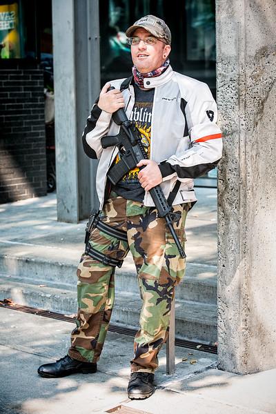 A gun rights supporter shows off his heavy artillery.