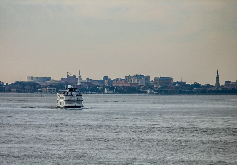Charleston and a Paddleboat from Fort Sumter