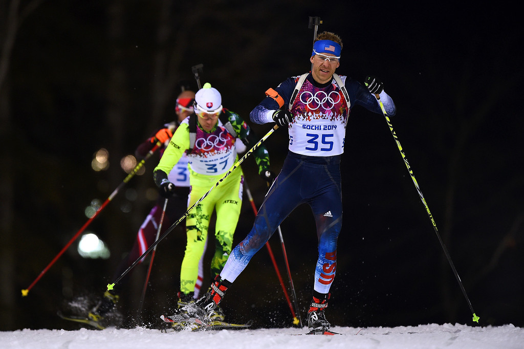 . Lowell Bailey of the United States competes in the Men\'s 12.5 km Pursuit during day three of the Sochi 2014 Winter Olympics at Laura Cross-country Ski & Biathlon Center on February 10, 2014 in Sochi, Russia.  (Photo by Lars Baron/Getty Images)