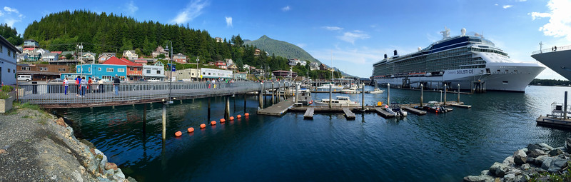 Ketchikan cruise ship dock on a sunny day
