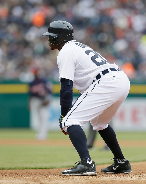 . Detroit Tigers\' Rajai Davis leads off first during the second inning of an opening day baseball game against the Minnesota Twins in Detroit, Monday, April 6, 2015. (AP Photo/Carlos Osorio)