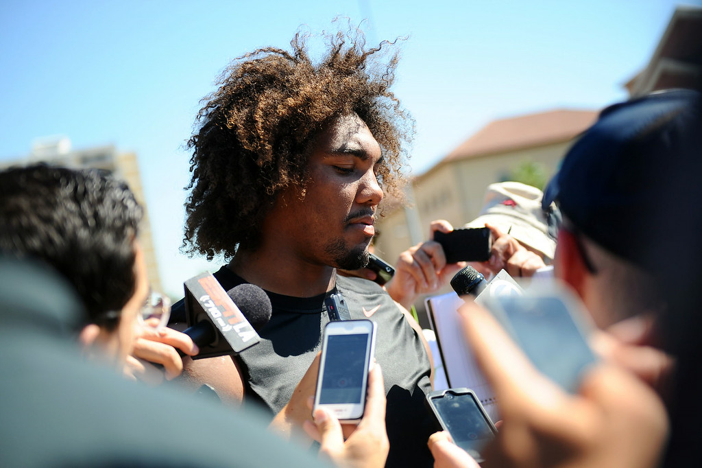 . Leonard Williams fields questions from the media following practice on USC\'s Howard Jones Field August 27, 2014.(Andy Holzman/Daily News Staff Photographer)