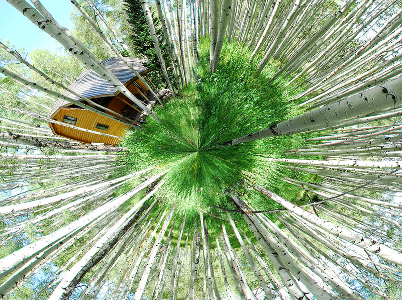 8/14/07 – This is called a global panorama. I shot five images, stitched them together to make a normal panorama then using a feature in Photoshop made it look like a globe with a cabin and trees growing in all directions. This is the back side of the cabin.