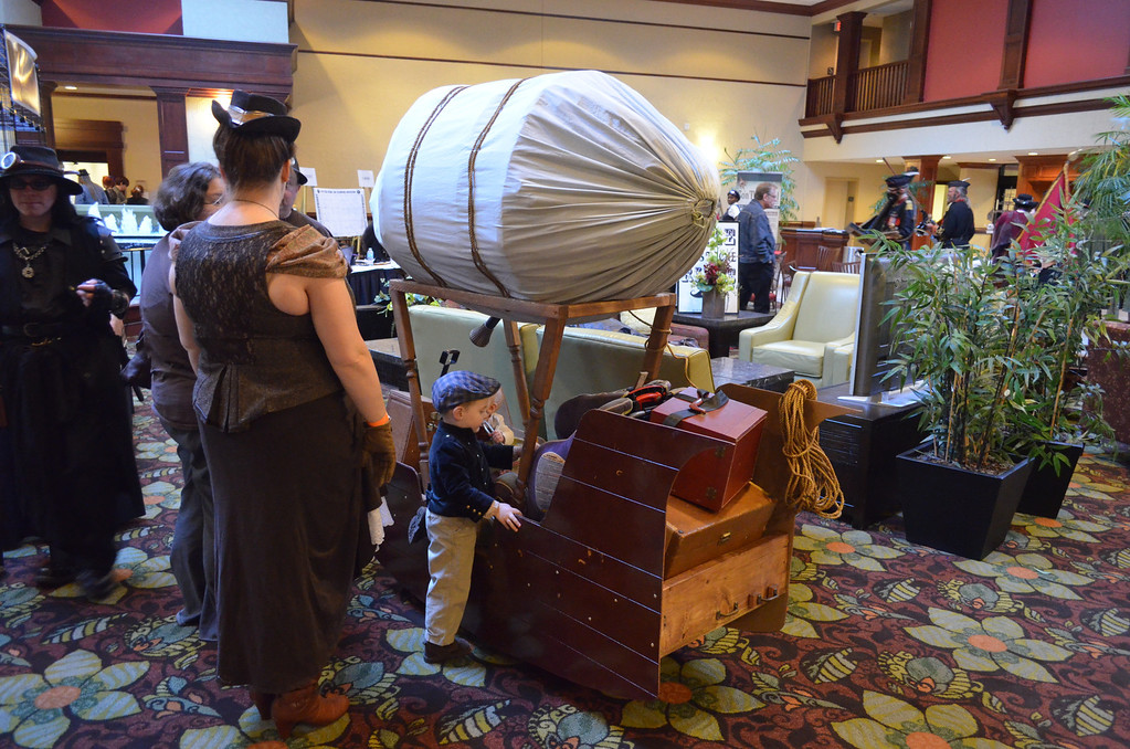 . Airships a plenty could be seen from the lobby of the Hilton-Doubletree hotel Friday night as people from across the country gathered to celebrate the Steampunk lifestyle at the first ever Up In The Aether: Steampunk Convention. (Photo: Dave Herndon)