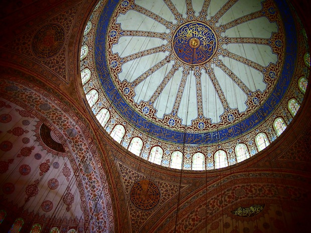 Dizzying ceiling patterns inside the Blue Mosque