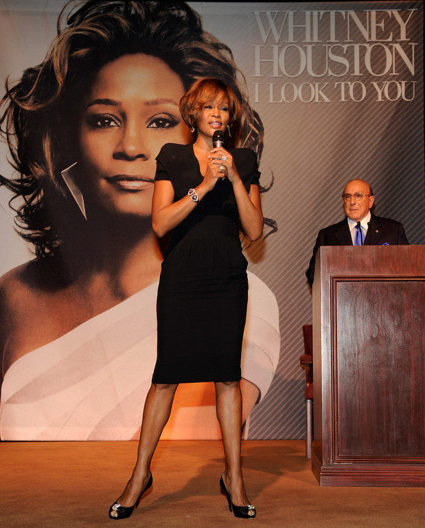 ". (L-R) Singer Whitney Houston and Chief Creative Officer, Sony Music Worldwide, Clive Davis during the Whitney Houston ""I Look To You\"" CD Listening Party held at the Beverly Hilton Hotel on July 23, 2009 in Beverly Hills, California. (Photo by Frank Micelotta/Sony Music)"