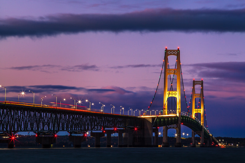 Mackinac Bridge at Dusk, Michigan