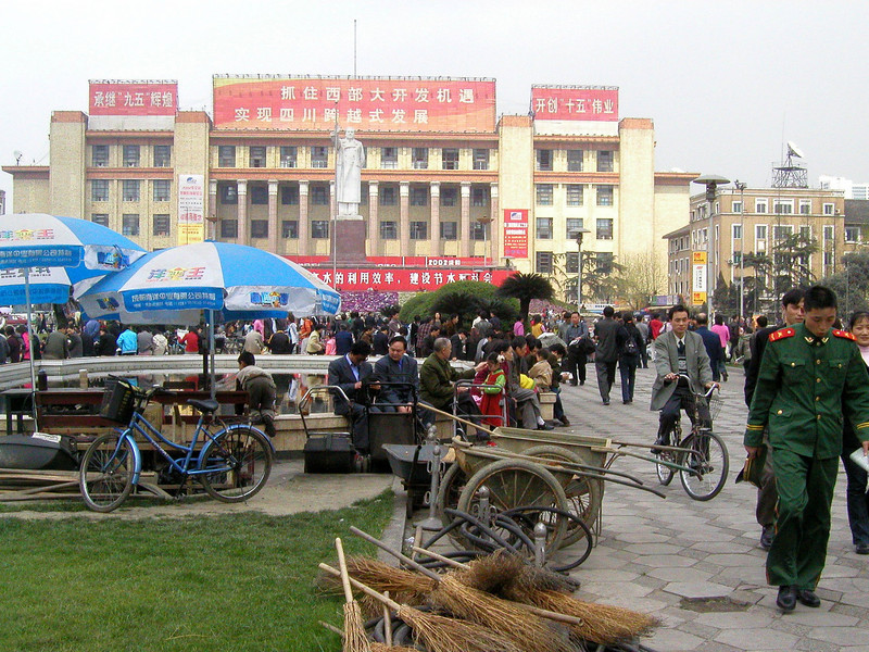 Chengdu main square with Mao, this has all changed now, March 2001