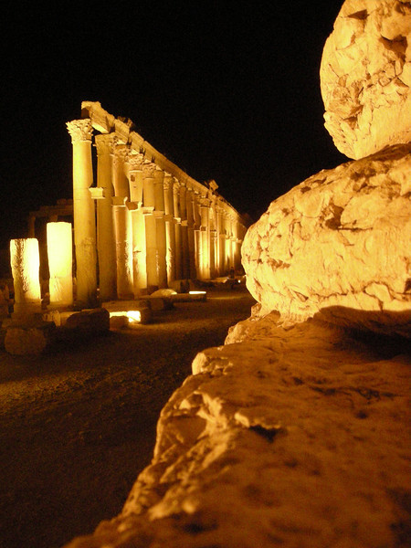 night view on the great colonnade at Palmyra