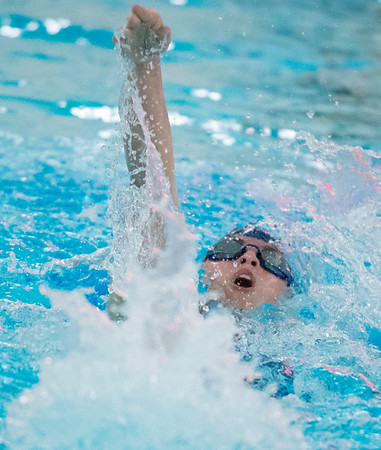 10/02/19 Wesley Bunnell | StaffrrBulkeley/HMTCA girls swimming at Newington on Wednesday afternoon. Gabby Targonska in the 100 yard backstroke.