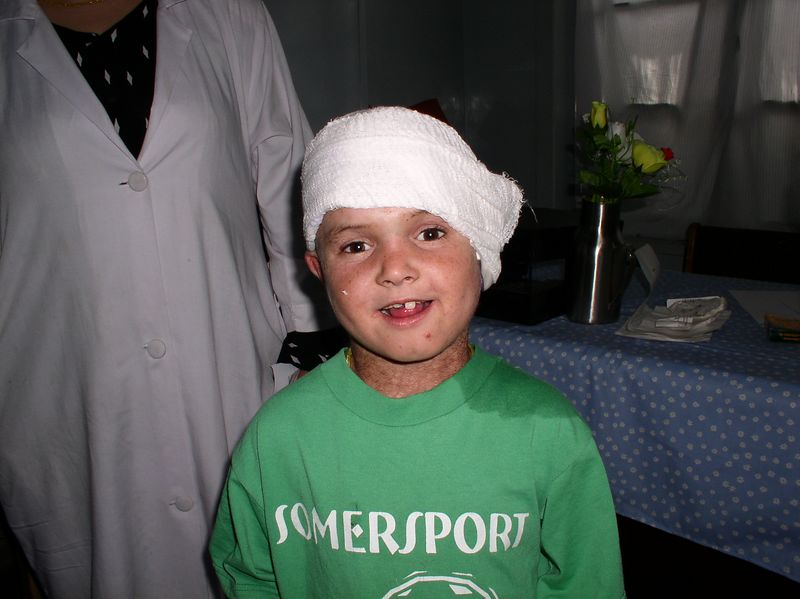 This is Raheem after he received my treatment in the nursery: phisohex soak, bactroban, Cefzil and tylenol. He was a stellar patient. I hope to cure his very bad ear cellulitis.