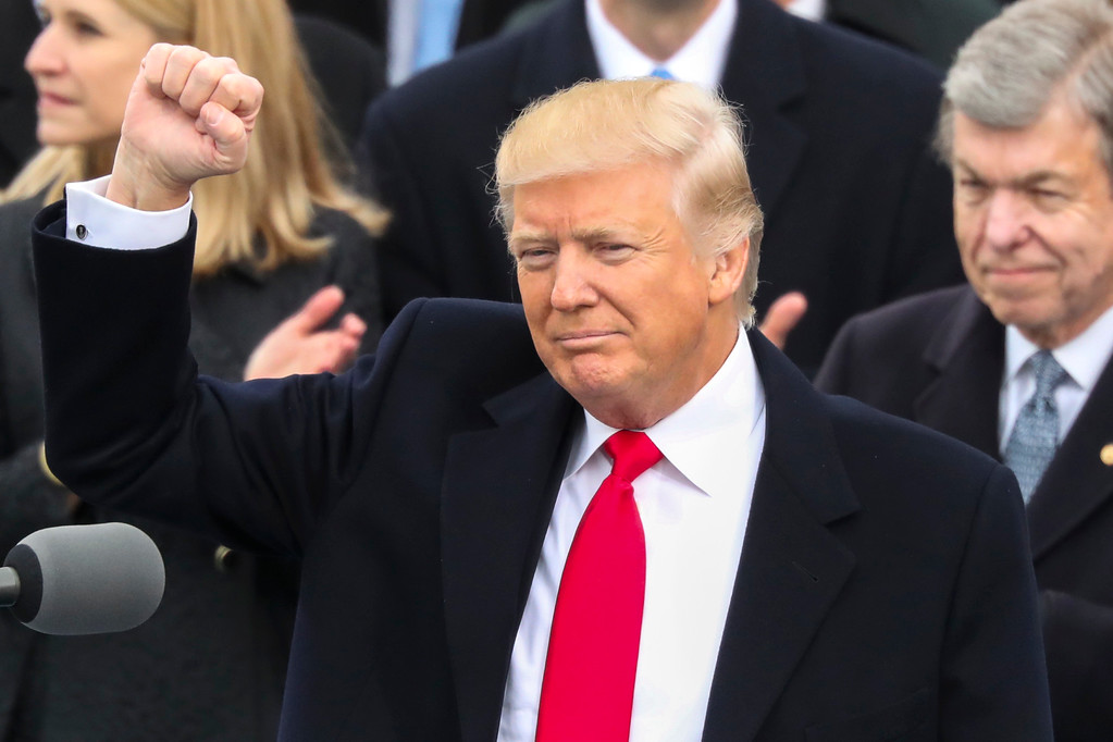 . President Donald Trump pumps his fist after being sworn in as the 45th president of the United States during the 58th Presidential Inauguration at the U.S. Capitol in Washington, Friday, Jan. 20, 2017. (AP Photo/Andrew Harnik)