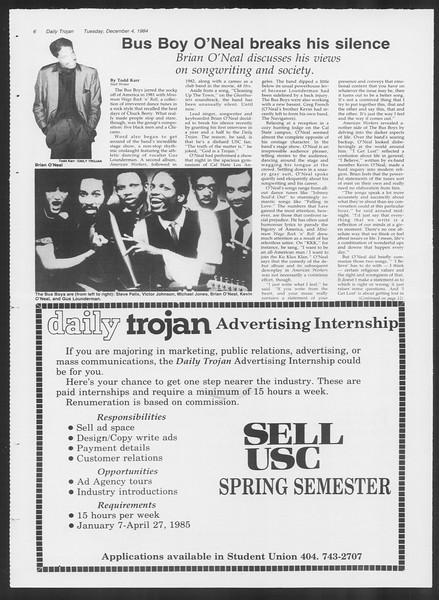 Daily Trojan, Vol. 97, No. 62, December 04, 1984
