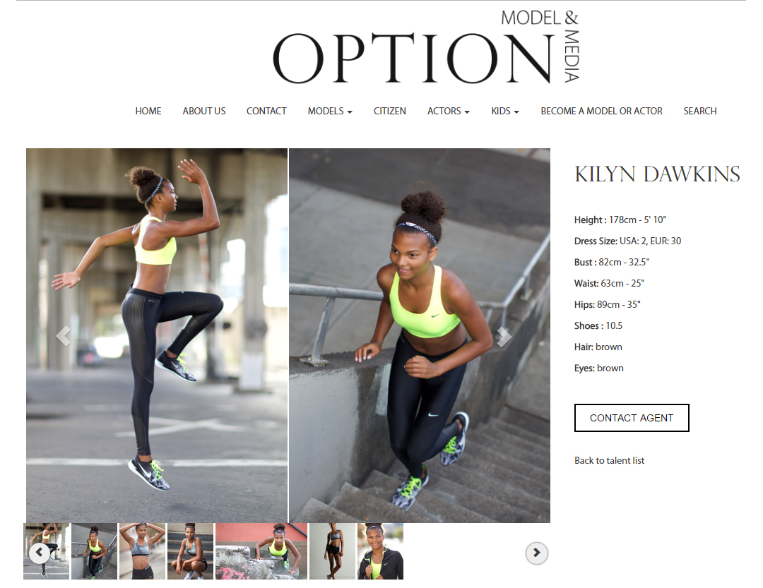 two fitness model portfolio photos on agency website