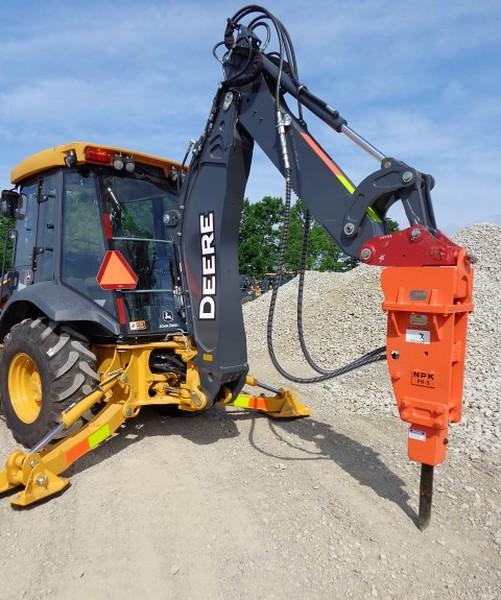 NPK PH3 hydraulic hammer on Deere backhoe (7).JPG