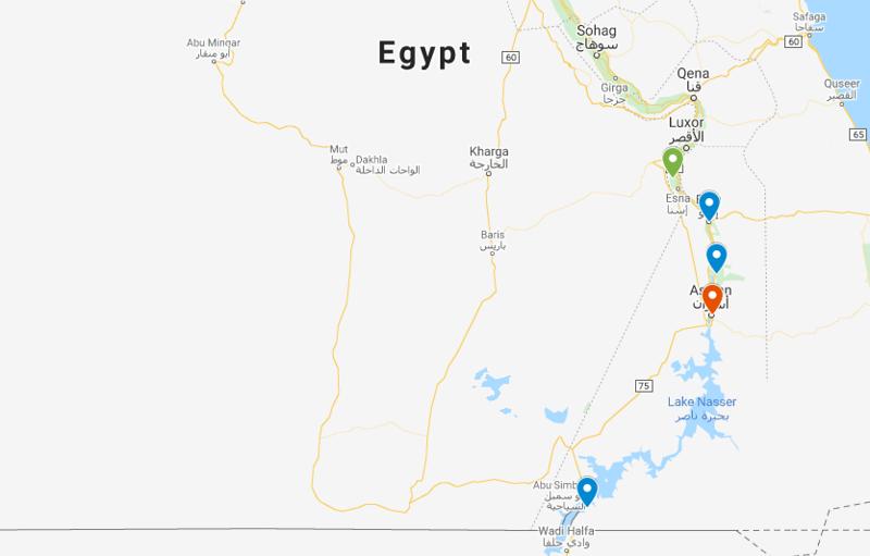 Luxor to Aswan cruise map