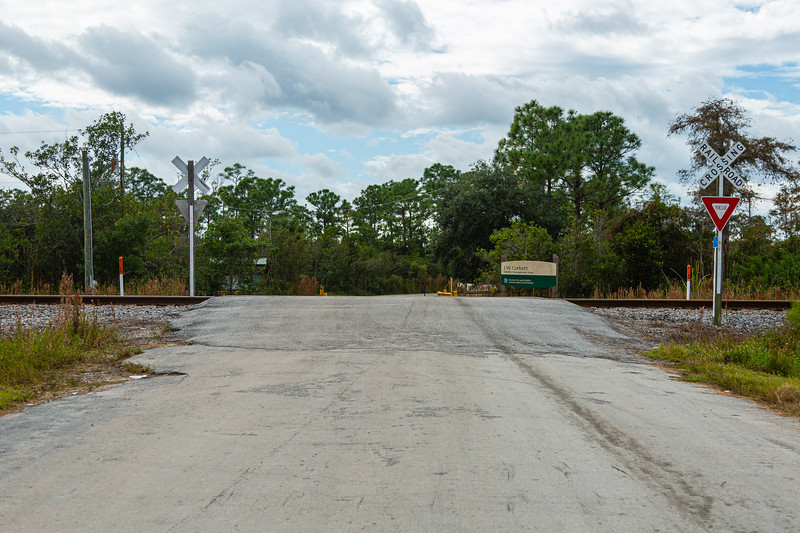 A look at the J.W. Corbett entrance where the rail tracks cross the entry road. An Amtrak train collided with a SUV Saturday, November 23, 2019, killing one adult and two children. There are no lights, bells or gates at the crossing. [JOSEPH FORZANO/palmbeachpost.com]