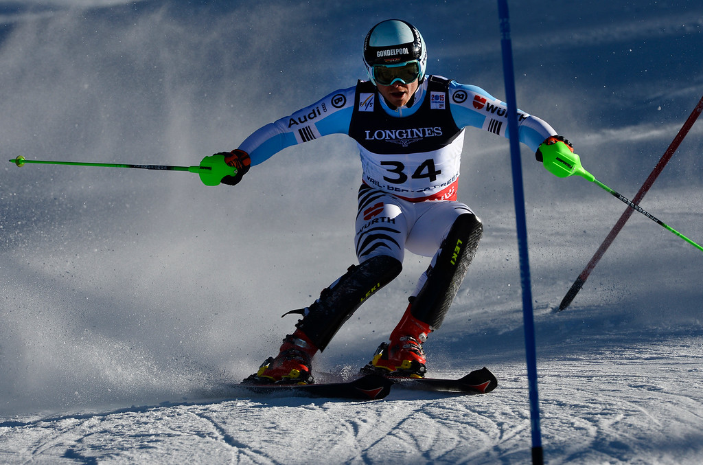 . BEAVER CREEK, CO - FEBRUARY 8: Andreas Sander of Germany runs the course at the Men\'s slalom portion of the Men\'s alpine combined race at the FIS Alpine World Ski Championships in Beaver Creek, CO. February 8, 2015. (Photo By Helen H. Richardson/The Denver Post)