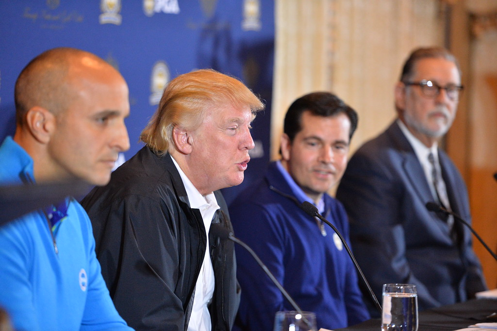 . Trump National Golf Club in RPV and the PGA announce the Grand Slam of golf to be held in October. L to R: Pete Bevacqua, CEO PGA  of America, Donald Trump, Derek Sprague President PGA of America and RPV Mayor Jim Knight. (Photo by Brad Graverson/The Daily Breeze/3-10-15)
