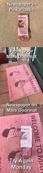Kat was asked to put the paper at the front door when she dropped the car off. She kept forgetting.