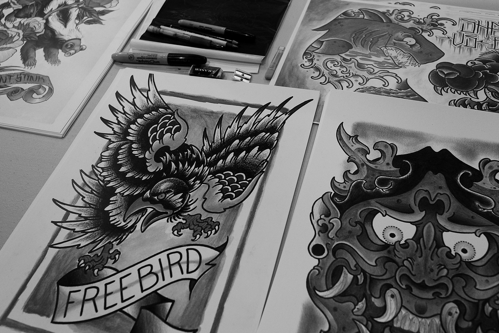. Tattoo prints as seen on display during The Australian Tattoo & Body Art Expo at the Royal Hall of Industries, Moore Park on March 8, 2013 in Sydney, Australia. The annual three day event showcases some of Australia\'s best tattoo and body artists and is open to enthusiasts March 8-10.  (Photo by Lisa Maree Williams/Getty Images)