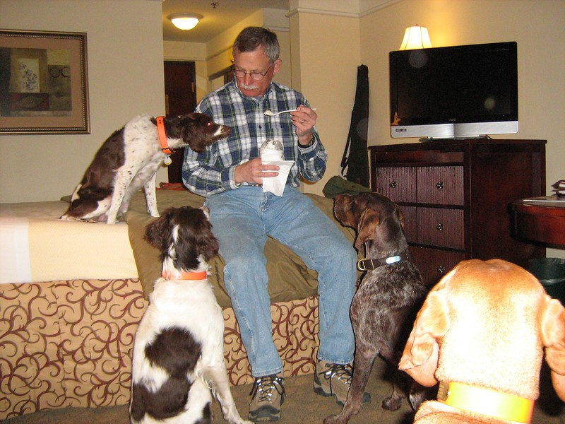 2008 Kansas Hunting Trip - Morgen and dogs coveting Greg's ice cream.JPG