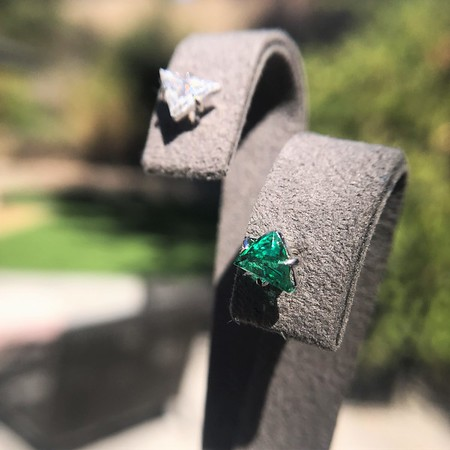 .85ctw Vintage Emerald and Diamond Stud Mismatched Earrings