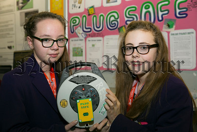 BT Young Scientist & Technology Exhibition 2015. Pictured are Molly Cunningham and Alice McAlea from St., Louis' Grammar School, Co Down with their project 'Pull-it-Plug'. Picture by Johnny Bambury /  Copyright Fennells 2015.