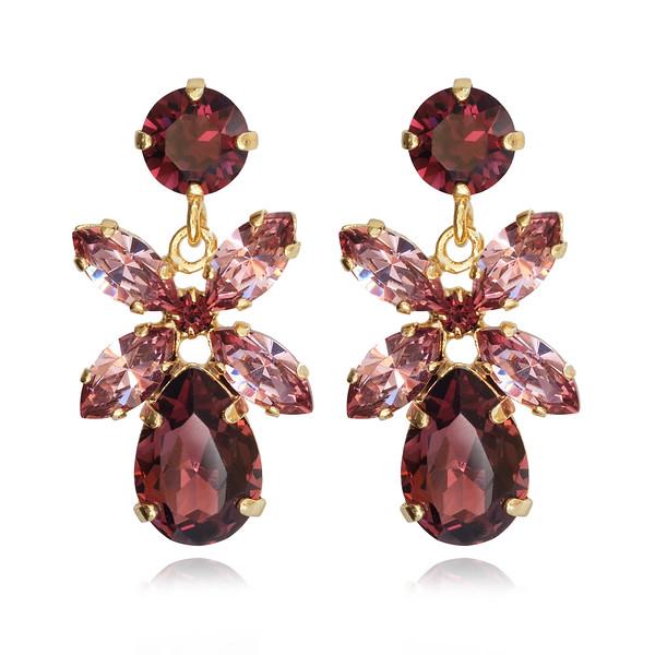 Mini Dione Earrings / Burgundy + Rose Blush / Gold