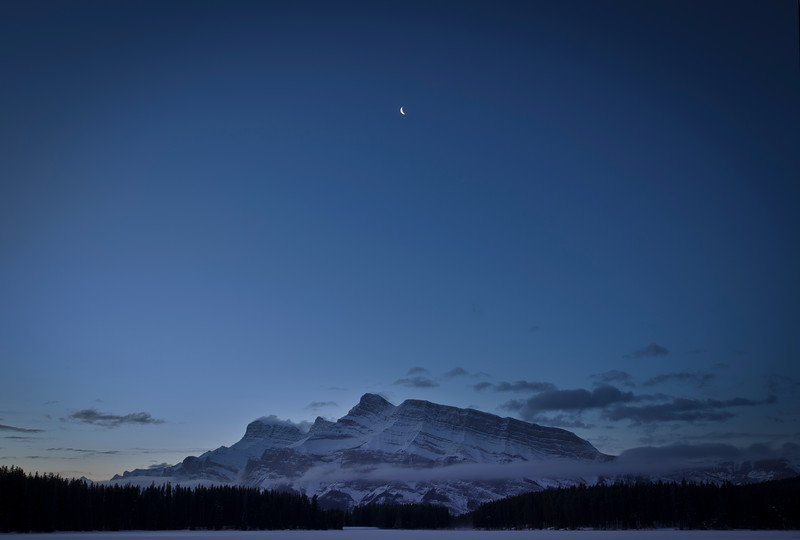 """Moon over a Frozen Peak"" IV, Two Jack Lake, Banff National Park, Alberta, Canada."