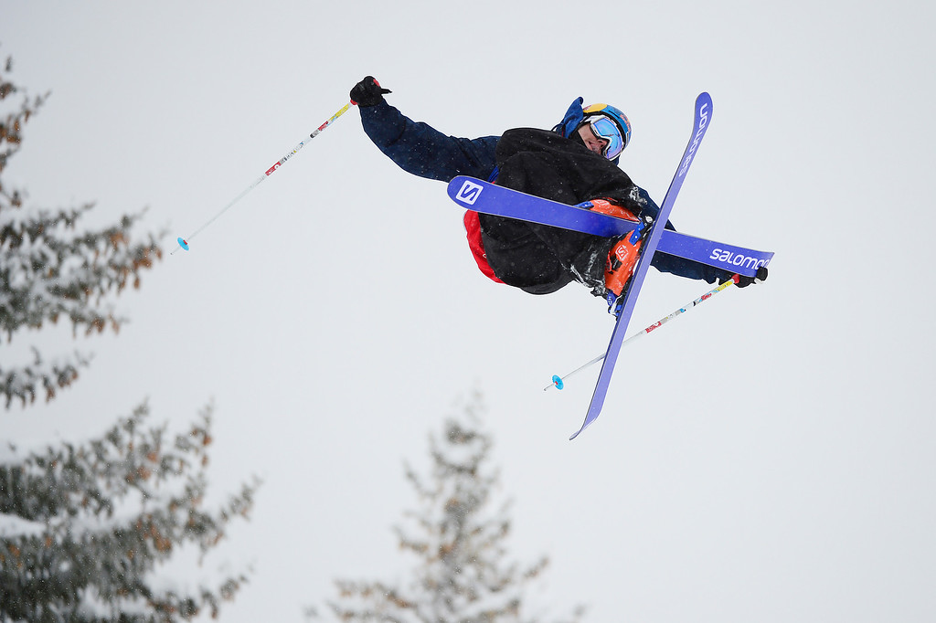 . ASPEN, CO - JANUARY 31: Bobby Brown goes for a grab in his third run during Men\'s Ski Slopestyle at Winter X Games 2016 at Buttermilk Mountain on January 31, 2016 in Aspen, Colorado. Jossi Wells won the event with a score of 90 coming after his last run. (Photo by Brent Lewis/The Denver Post)