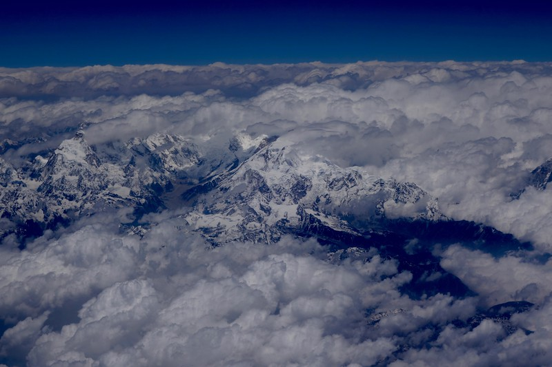 Himalayan peaks in the clouds
