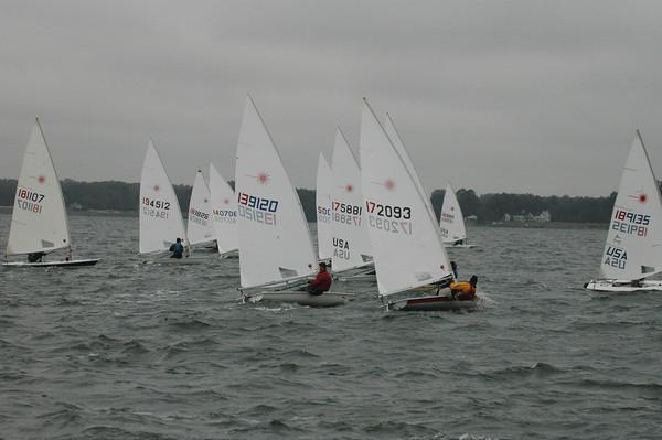 Fleet going upwind in race 2. 172093 Mike Toms, 139120 Mike Heffernan
