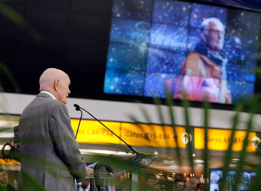 . FILE � In this June 28, 2016, file photo, former astronaut and U.S. Sen. John Glenn, D-Ohio, speaks during an event to mark the September 2016 renaming of Port Columbus International Airport to John Glenn Columbus International Airport Tuesday, June 28, 2016, in Columbus, Ohio. Glenn, the first American to orbit the Earth, turned 95 on Monday, July 18, 2016, and was trending on Twitter as well-wishers recognized his birthday. (AP Photo/Jay LaPrete, File)