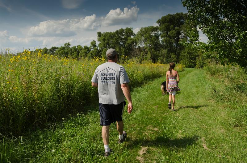 Rico, Viv, Sully: a walk around the farm.
