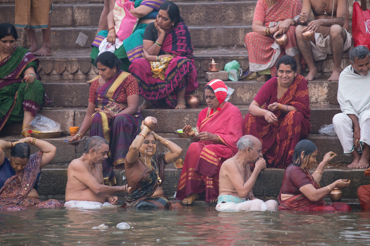 Bathing in the Ganges River in India