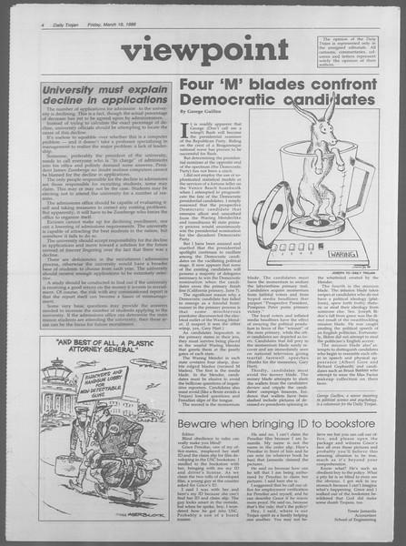 Daily Trojan, Vol. 106, No. 47, March 18, 1988