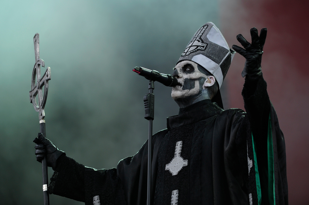 Description of . Papa Emeritus II of Ghost B.C. performs as part of Lollapalooza 2013 at Grant Park on August 2, 2013 in Chicago, Illinois. (Photo by Seth McConnell/The Denver Post)