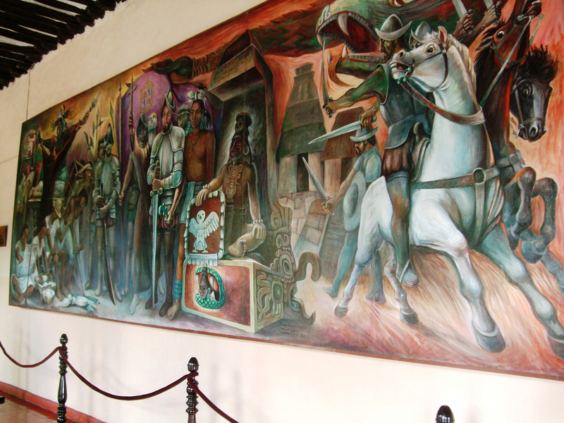 1517: Spaniards arrive, but attacked by the Maya and forced to turn back 1526-42: The Yucatan is conquered on the third attempt by conquistadores Museum's mural