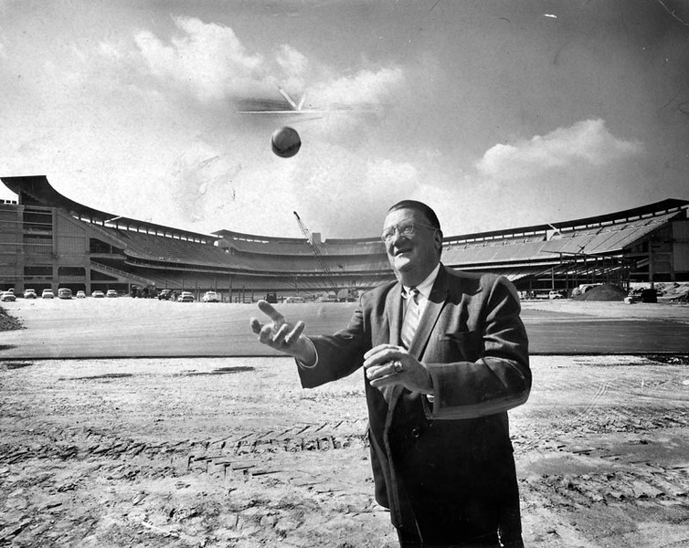 1962, O'Malley Tosses Ball at New Stadium