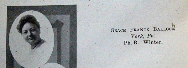 "Yearbook entry of Grace Frantz Balloch.  Even in those years, some folks had difficulty spelling ""Balloch.""  Grace was born in Waynesboro, Pennsylvania and went to college at the Millersville State Normal in Millersville, Pennsylvania.  She came to Spearfish in 1923 to work for the Normal as an English teacher."