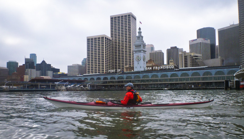 Gwynn in front of the restored Ferry Building