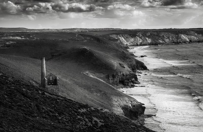An abandoned tin mine on the Cornish coast.  Cornwall, England, 2018.