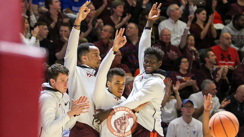 The Virginia Tech bench celebrates a late three point make to pull the Hokies close. (Mark Umansky/TheKeyPlay.com)